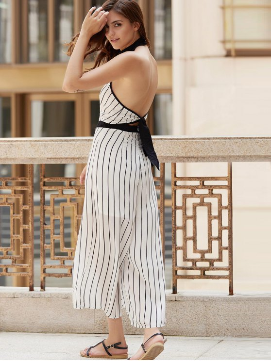 Striped Backless Cut Out Halter Sleeveless Jumpsuit - WHITE M Mobile