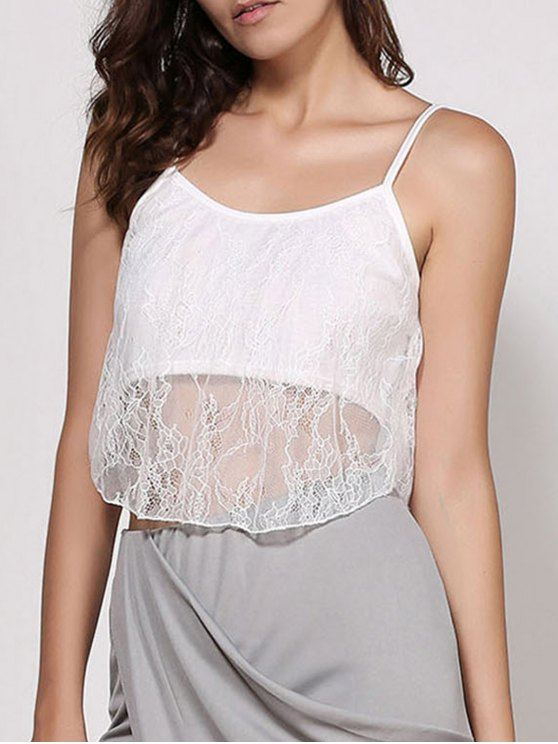 buy Lace Spaghetti Strap Crop Top - WHITE S