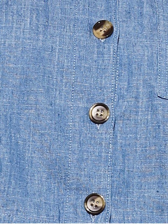 Cropped Denim Shirt - BLUE M Mobile