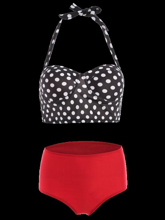 Polka Dots Print Halterneck Vintage Bikini - BLACK S Mobile