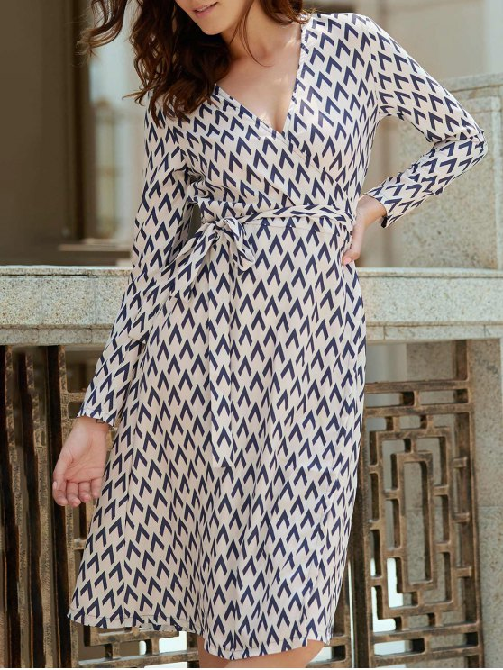 affordable Long Sleeve Houndstooth Print Wrap Dress - WHITE S