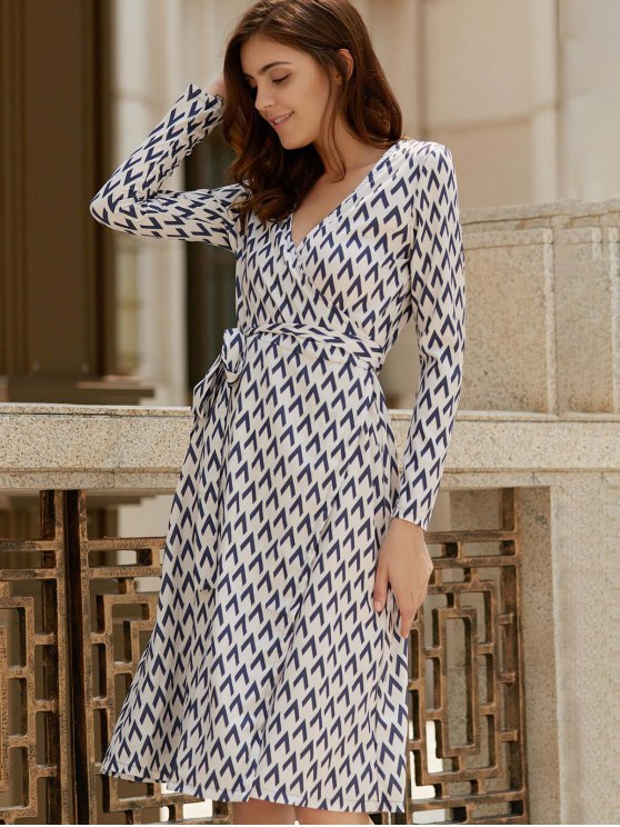 Long Sleeve Houndstooth Print Wrap Dress - WHITE S Mobile
