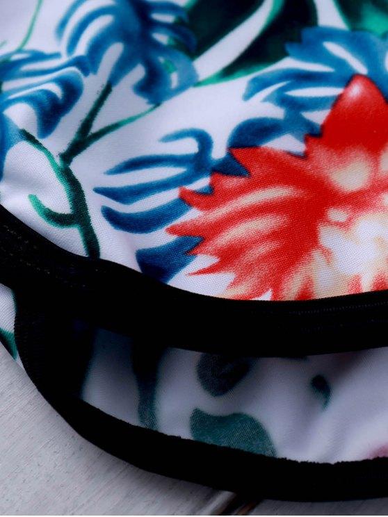 Printed Crop Top and Boyshorts Bikini - GREEN L Mobile