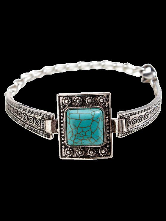Cuadrada de la joyería de imitación de la pulsera de la turquesa de Boho - Plata