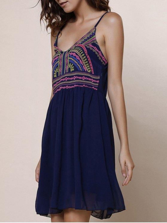Spaghetti Strap Color Block Print Dress - PURPLISH BLUE M Mobile