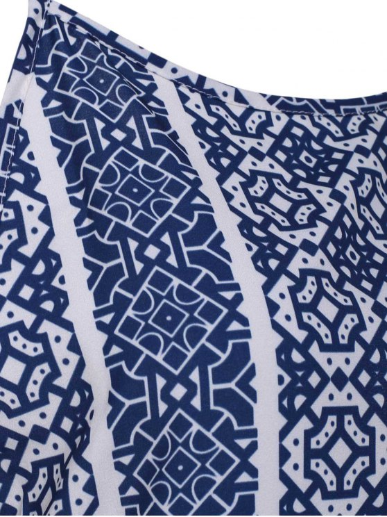 Spaghetti Strap Sleeveless Print Maxi Dress - BLUE AND WHITE XL Mobile