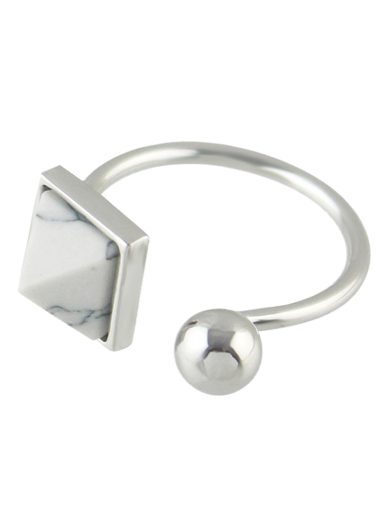 Faux Rammel Alloy Geometric Cuff Ring - SILVER ONE-SIZE Mobile