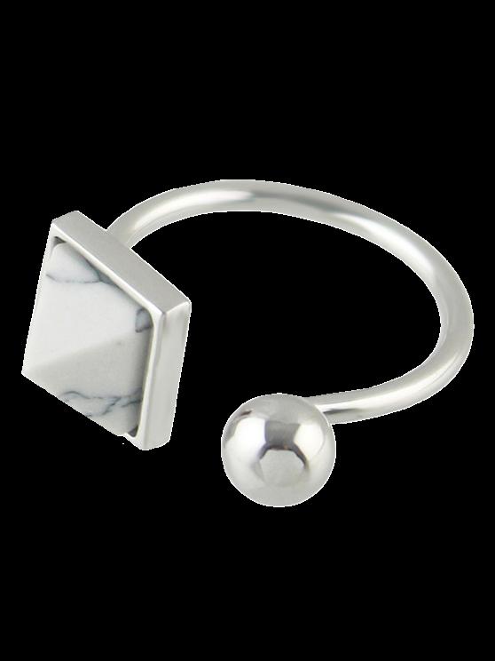 lady Faux Rammel Alloy Geometric Cuff Ring - SILVER ONE-SIZE