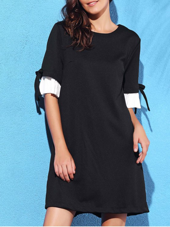 best Pleated Spliced Round Neck Half Sleeve Dress - BLACK L