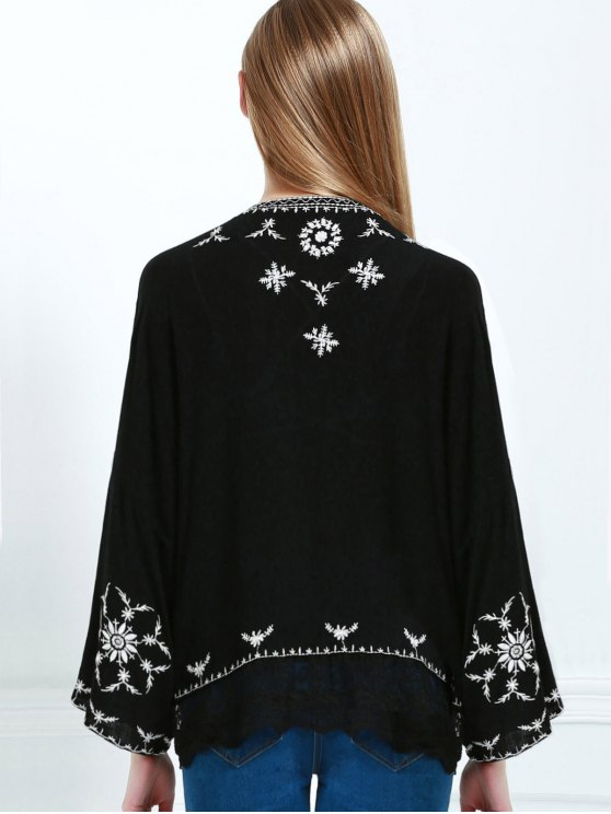 Embroidered Kimono - BLACK S Mobile