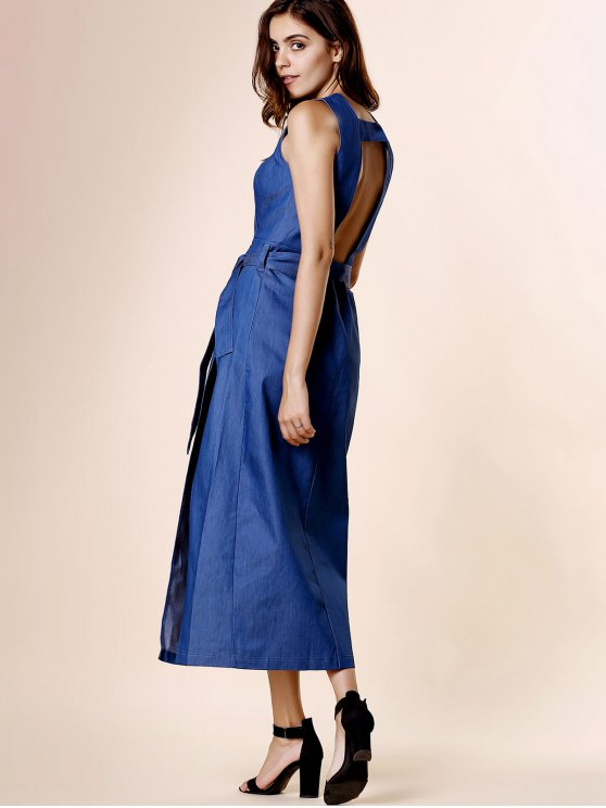 High Slit Plunging Neck Sleeveless Denim Dress - BLUE L Mobile