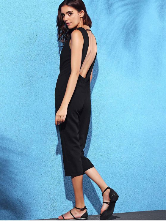 Black Hollow Plunging Neck Sleeveless Jumpsuit - BLACK L Mobile