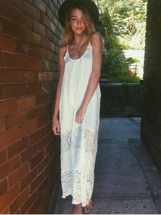 Spaghetti Strap Floral Pattern Lace Maxi Dress - WHITE L Mobile