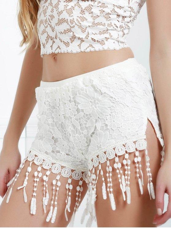 Crochet Fringed Shorts - WHITE M Mobile