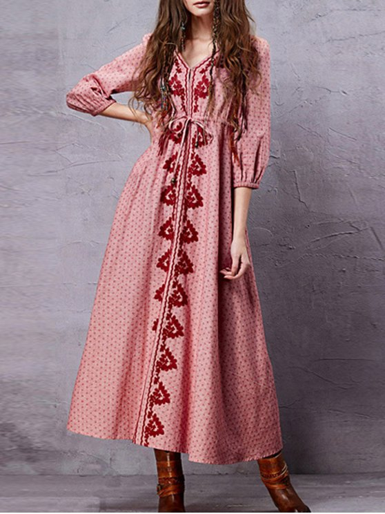 womens Embroidery V Neck 3/4 Sleeve A Line Dress - PINK S