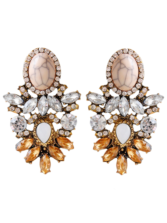 latest Alloy Faux Crystal Rhinestone Oval Earrings - BROWN