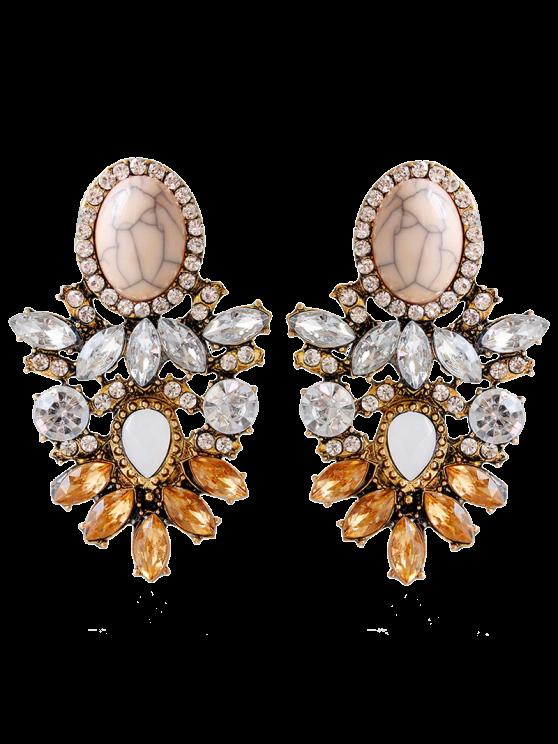 latest Alloy Faux Crystal Rhinestone Oval Earrings - BROWN