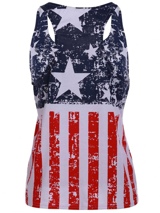 Scoop Neck American Flag Patriotic Tank Top - BLUE AND RED M Mobile