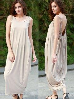 Baggy Maxi Tank Dress - Khaki L