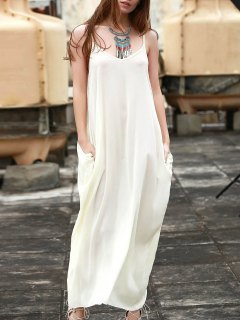 Spaghetti Strap Solid Color Sleeveless Maxi Dress - White S