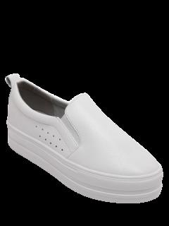 Solid Color Slip-On Platform Shoes - White 38
