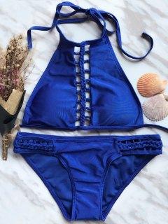High Neck Ladder Cutout Bikini - Blue S