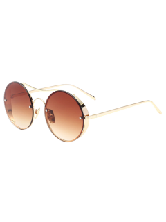 Chunky Round Frame Sunglasses - Tea-colored