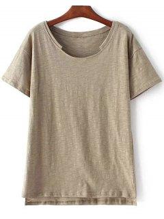 Short Sleeve High Low Hem Round Neck T-Shirt - Army Green M