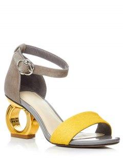 Color Block Ankle Strap Strange Heel Sandals - Yellow 39