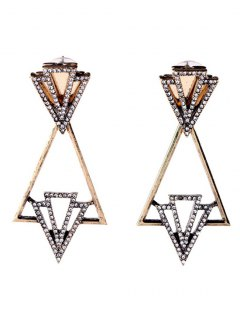 Rhinestone Triangle Hollow Out Earrings - Golden