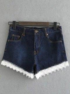 Lace Denim Shorts - Deep Blue M