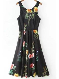 Floral Print Scoop Neck Waisted Dress - Black L