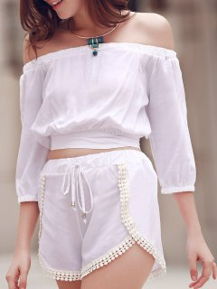 Off The Shoulder Crop Top And Solid Color Shorts Suit - White Xl