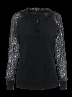 Openwork Lace Spliced Lace-Up Long Sleeves Sweatshirt - Black M