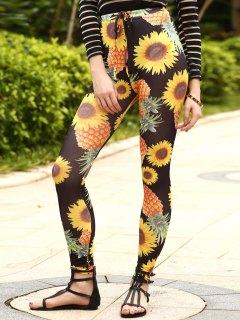 Sun Flower Print Drawstring Narrow Feet Pants - Black S