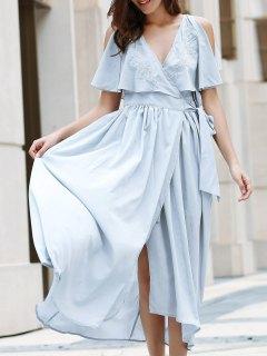 High Slit Flounce Ruffles Plunging Neck Sleeveless Dress - Light Blue M