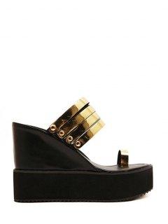 Toe Ring Platform Wedge Heel Slippers - Golden 37