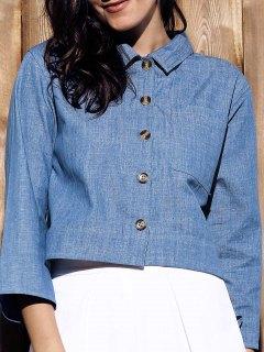 Cropped Denim Shirt - Blue S