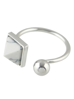 Faux Rammel Alloy Geometric Cuff Ring - Silver One-size