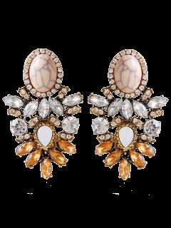 Alloy Faux Crystal Rhinestone Oval Earrings - Brown