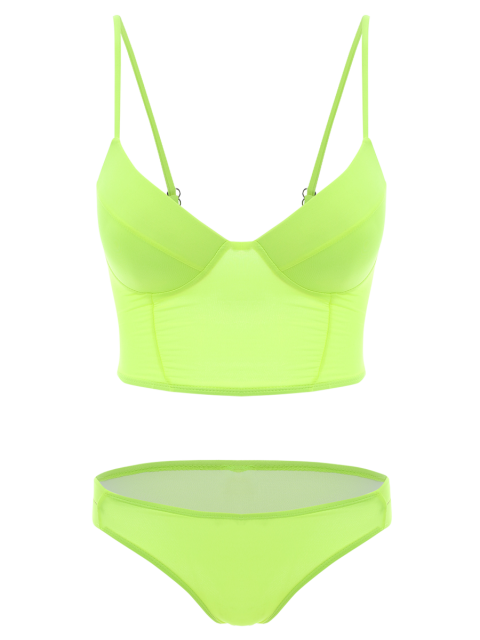 hot Long Line Bikini Top and Bottoms - NEON GREEN M Mobile