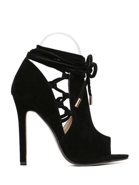 outfit Hollow Out Flock Black Peep Toe Shoes - BLACK 37 Mobile