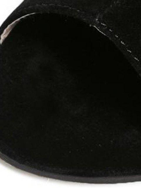 online Hollow Out Flock Black Peep Toe Shoes - BLACK 36 Mobile