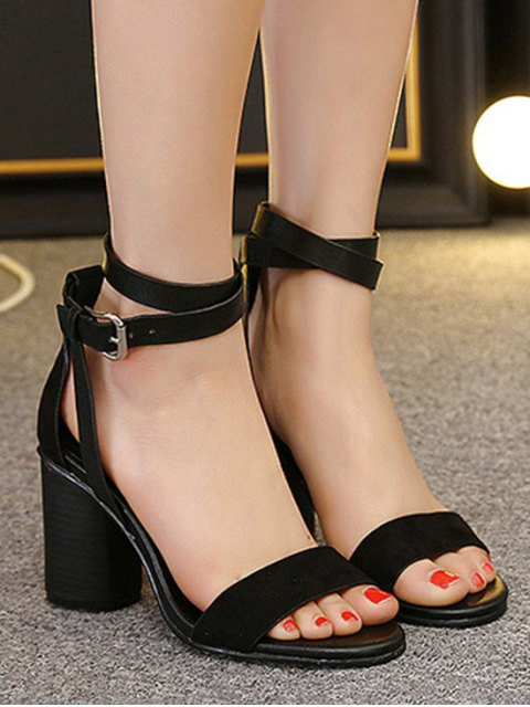 buy Chunky Heel Suede Ankle Strap Sandals - BLACK 36 Mobile