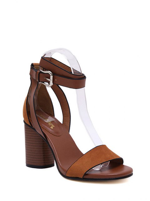 new Chunky Heel Suede Ankle Strap Sandals - BROWN 38 Mobile