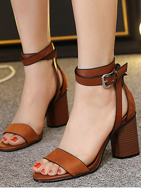 best Chunky Heel Suede Ankle Strap Sandals - BROWN 36 Mobile