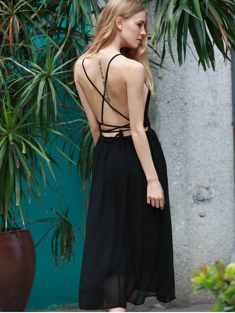 affordable Lace-Up Backless Chiffon Party Dress - BLACK L Mobile