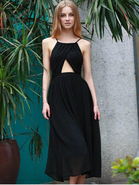 unique Lace-Up Backless Chiffon Party Dress - BLACK S Mobile