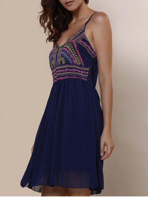 trendy Spaghetti Strap Color Block Print Dress - PURPLISH BLUE XL Mobile