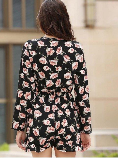 shop Lace-Up Floral Print Plunging Neck Long Sleeve Playsuit - BLACK L Mobile